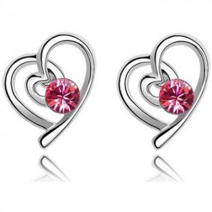 Blue Pearls Ohrringe Herz-Ohrringe mit rosafarbenen Swarovski Elements
