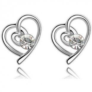 Blue Pearls Ohrringe Herz-Ohrringe mit weißen Swarovski Elements