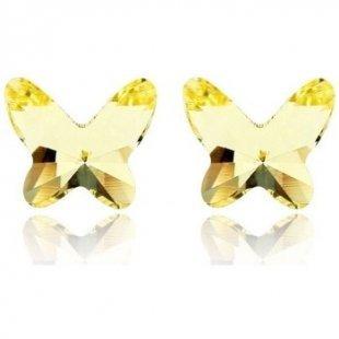 Blue Pearls Ohrringe Schmetterlings-Ohrring Swarovski Element-Kristall Gelb