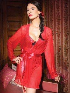 Coquette Netz-Kimono: Sultry Red, rot