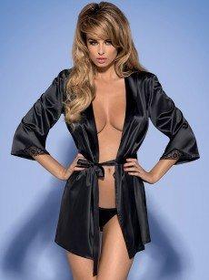 Obsessive Satinia: Kimono, schwarz