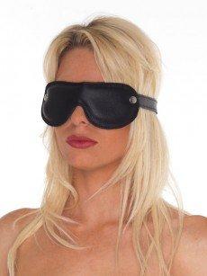 Leder-Augenmaske gepolstert, schwarz