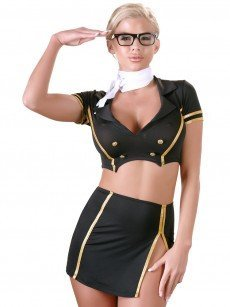 Stewardess-Set, schwarz/gold