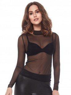 Anabel Arto: Langarm-Shirt, schwarz