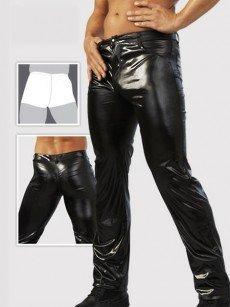 Herren Wetlook-Jeans, schwarz