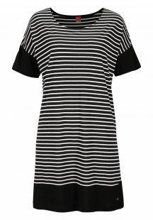 s.Oliver RED LABEL Bodywear Modernes Nachthemd im schwarz-weißen Ringellook