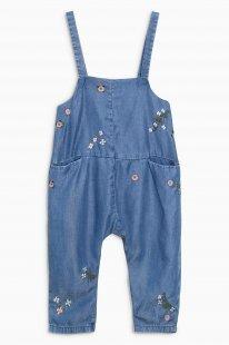 Next Langer Jeans-Overall mit Blumenverzierung