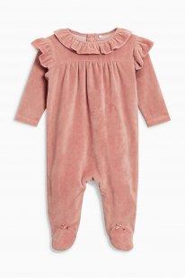 Next Schlafanzug aus Velours mit Rüschen