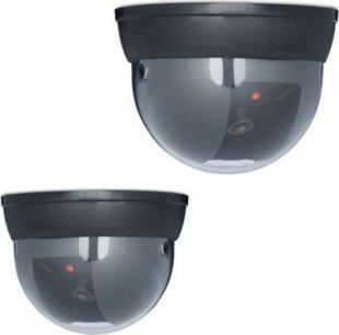 relaxdays 2er Set Dummy Kamera Sicherheitskamera Kameraattrappe mit LED Überwachungskamera