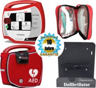 Progetti Rescue SAM AED Vollautomat mit Funktionstasche und Wandhalterung, 10 Jahre Hersteller-Garantie
