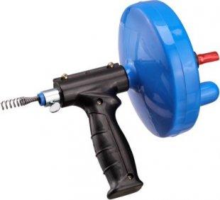 Haas Rohr-Reinigungsspirale mit Maschinenanschluss und Pistolenhandgriff, 4,5 m, blau/schwarz (1 Stück)