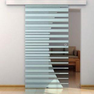 Home Deluxe Glasschiebetür im Streifendesign mit Muschelgriff, 105cm