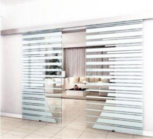 Home Deluxe Doppelglasschiebetür mit Streifendesign und Muschelgriff, 2x77,5cm