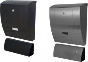 Design Briefkasten Slim mit Zeitungsfach schwarz