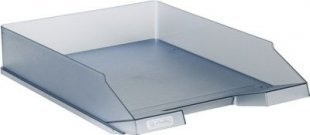 Herlitz Ablagekorb A4 aus Kunststoff, grau transluzent (1 Stück)