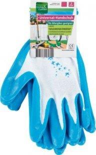 Living & Garden Universal-Handschuh, 2er Paar - Größe M, weiß/blau mit Schmetterling