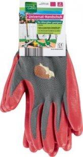 Living & Garden Universal-Handschuh, 2er Paar - Größe L, grau/rot mit Igel