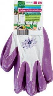 Living & Garden Universal-Handschuh, 2er Paar - Größe M, weiß/lila mit Blume