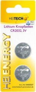 Heitech Lithium Knopfzellen, 2-er Pack, CR2032, 210 mAh, 3 V