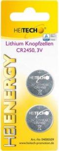 Heitech Lithium Knopfzellen, 2-er Pack, CR2450, 3 V