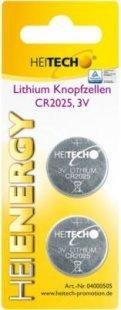 Heitech Lithium Knopfzellen, 2-er Pack, CR2025, 150 mAh, 3 V