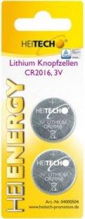 Heitech Lithium Knopfzellen, 2-er Pack, CR2016, 75 mAh, 3 V