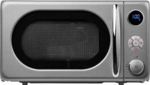 Mikrowelle MEDION® (MD 18028) mit 800 Watt Leistung im Retro-Design, silber