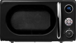 MEDION® Mikrowelle MD 18028, 800 Watt, Grill 1.000 Watt, 20 l Garraum, 8 Automatikprogramme, LED-Display, stilvolles Retro-Design, schwarz