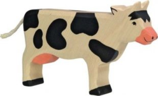 Holztiger 80003 Kuh, stehend, schwarz (1 Stück)