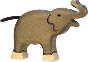 Holztiger 80150 Elefant, klein, Rüssel hoch, grau (1 Stück)