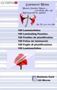 OLYMPIA Laminierfolie 100 X Visitenkarte 125 Mikron