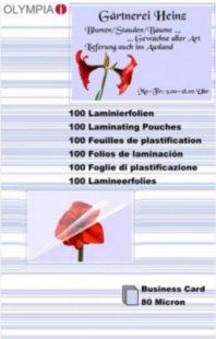 OLYMPIA Laminierfolie 100 X Visitenkarte 80 Mikron
