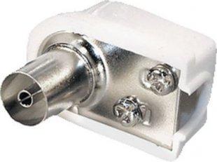Antennenbuchse, Coax Winkelbuchse, Kunststoff, weiß, IEC 9,5mm