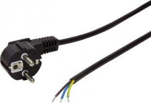 LogiLink CP135 Netzkabel Schuko Stecker 90° Winkel zu offenem Kabelende, 1.5m - schwarz