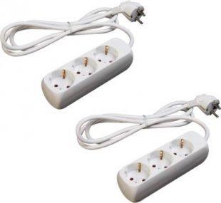 2 Stück LEX SL-001 3-fach Steckerleisten mit Kinderschutz
