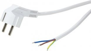 LogiLink CP136 Netzkabel Schuko Stecker 90° Winkel zu offenem Kabelende, 1.5m - weiß