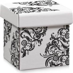 Zeller 17520 Aufbewahrungsbox, Pappe, weiß floral, 17x17x17cm