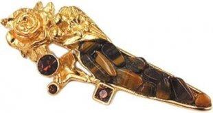 Cats Collection Brosche, tigerbraun goldfarbig