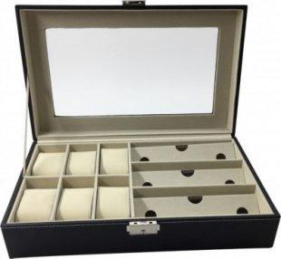 1PLUS Uhren und Brillen Aufbewahrungsbox Uhrenbox Uhrenkoffer Uhrenkasten ´´Genf´´ für 6 Uhren und 3 Brillen, braun