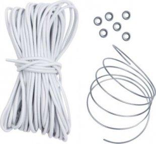 10T Shock Cord Plus - Stangengummi 13,5m x 3mm Zeltstangen Verbindungsgummi mit 76 cm Draht zum durchführen und 6 Klemmen