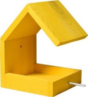 Luxus-Vogelhaus gelbes Design-Vogelfutterhaus mit Satteldach und Anflugstange