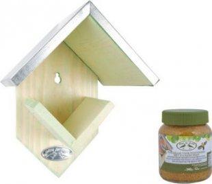 Dominik Gartenparadies Vogelfutterhaus mit Erdnussbutter-Vorrat für Wildvögel, inkl. Glas mit 340 gr. Erdnussbutter