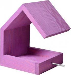 Luxus-Vogelhaus fliederfarbenes Design-Vogelfutterhaus mit Satteldach und Anflugstange