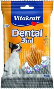 Vitakraft Dental 3in1 - Zahnpflege-Snack für Hunde bis 5 kg - 7 Sticks