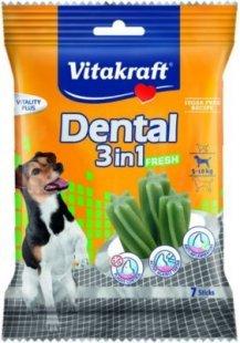 Vitakraft Dental 3in1 Fresh - Zahnpflege-Snack für Hunde von 5-10 kg - 7 Sticks