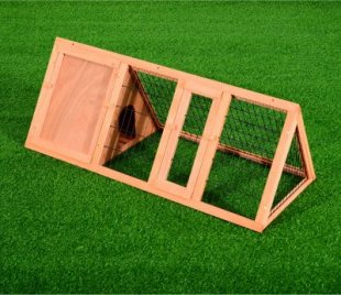Dreieckiger Kaninchenstall mit Freigehege