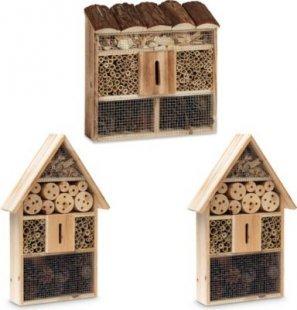 relaxdays 3 x Insektenhotel Insektenhaus Nisthilfe Schmetterlingshaus Bienenhotel Käfer