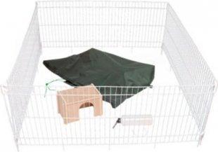 Dobar großes Kaninchengehege Set, weiß, 119,5 x 119,5 x 52 cm