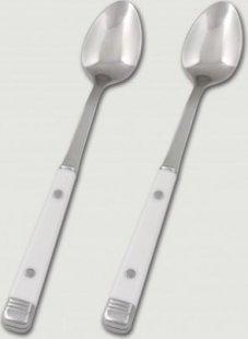 2 Stück 18/10 Limo- Longdrinklöffel mit weißen Kunststoffgriffen, Serie BISTRO