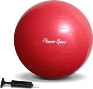 JOM Gymnastikball, Sitzball für Fitness und Sport bis 300 kg, mit Pumpe, Größe S, 65 cm, rot